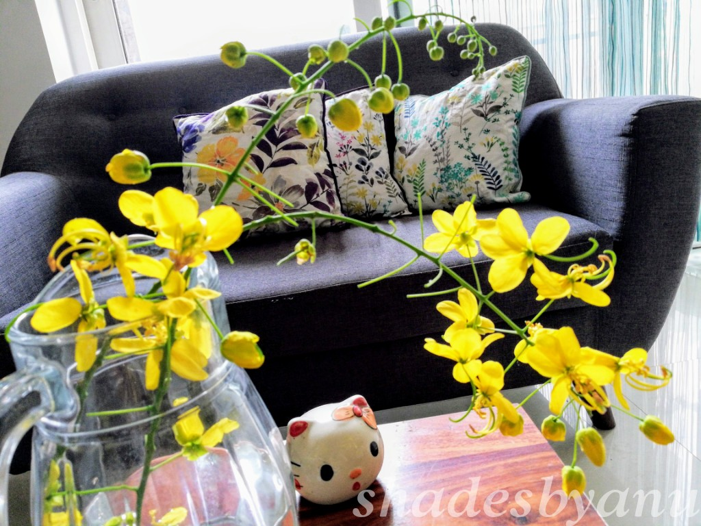 DIY home decor using flower Laburnum in jug design dekko