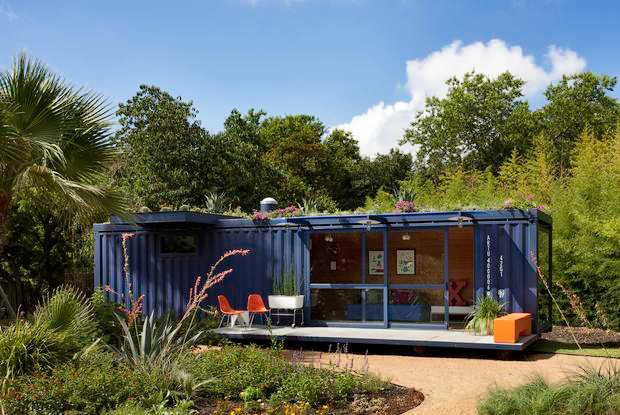 A shipping container converted into an eco-friendly guest house