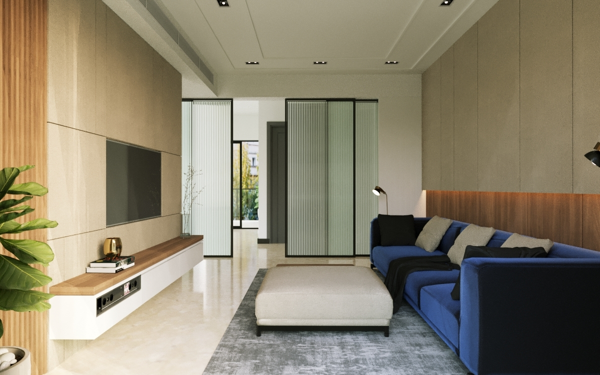 A fusion of muted colours, bespoke furniture and wooden accents punctuates this apartment by Chalk Studio