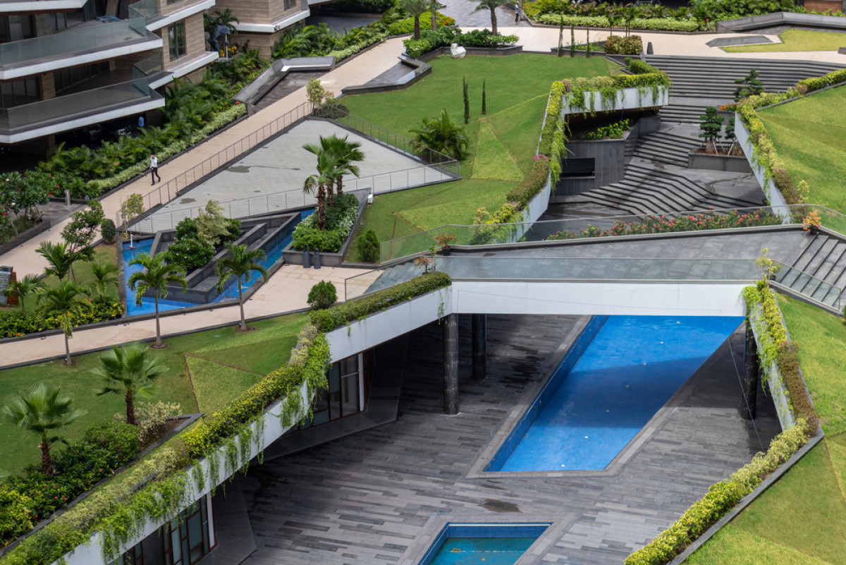 A view from the focal landscaped space