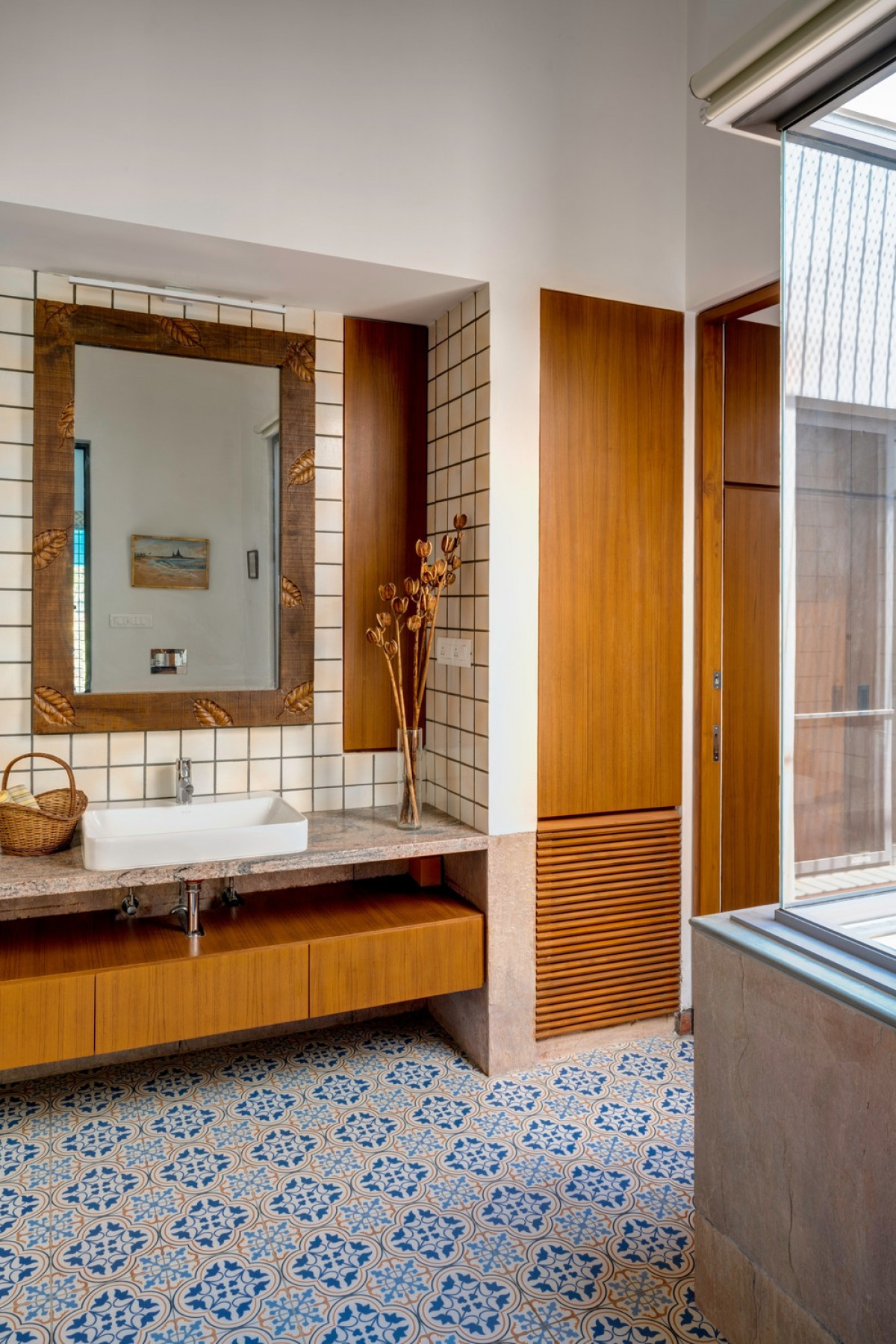 Master Bathroom with indirect daylight to accentuate playful variations inside a private space   Photo credit: Fabien Charuau
